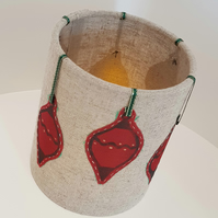 Hand printed bauble lantern (Hessian with Green Ribbon)