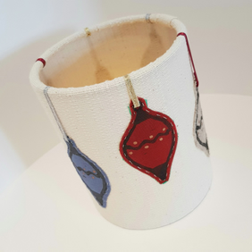 Hand printed bauble lantern (Cream with Silver, Gold & Red Ribbon)