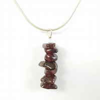 Garnet Drop Pendant Necklace - Smooth Chipped