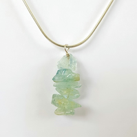 Aquamarine Drop Pendant Necklace - Smooth Chipped