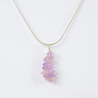 Lavender Amethyst Drop Pendant Necklace - Smooth Chipped