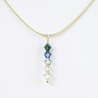 Swarovski Crystal Drop Pendant Necklace - Cooling Blue Colours
