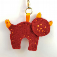 Burgundy & Orange Cat Keyring