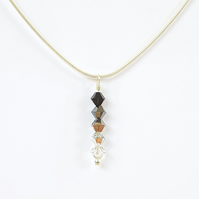 Swarovski Crystal Drop Pendant Necklace - Monochrome Colours