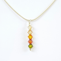 Swarovski Crystal Drop Pendant Necklace - Autumn Colours