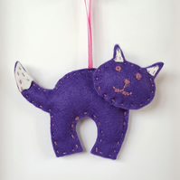 Purple & White Cat Hanging Decoration (H12.5cm padded)