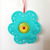 Turquoise & Yellow Flower Hanging Decoration (H17cm padded)