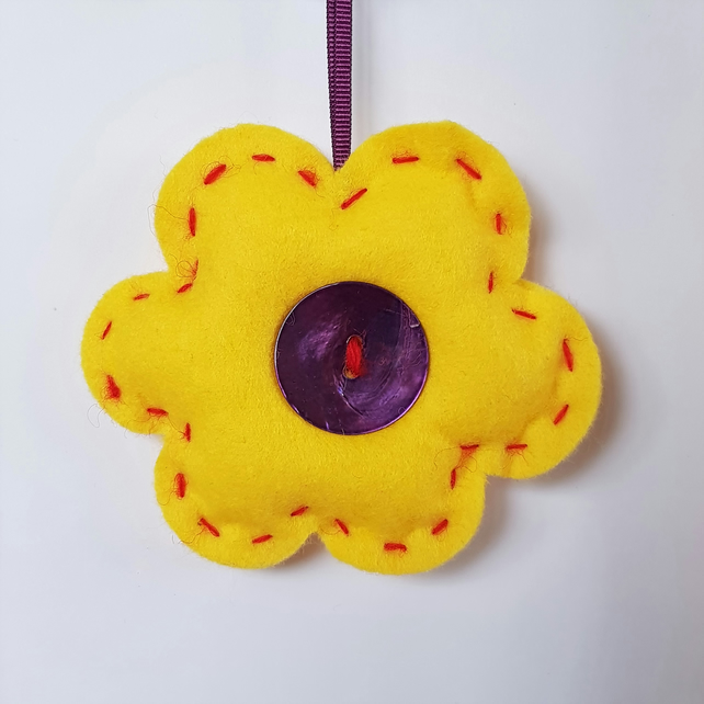Yellow & Purple Flower Hanging Decoration (H15.5cm padded)