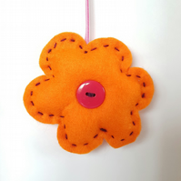Orange & Pink Flower Hanging Decoration (H16cm padded)
