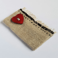 Fabric Brooch with a Red Heart Button
