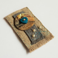 Fabric Brooch with a Blue Heart Button
