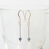 Swarovski Crystal Single Drop Earrings - Cornflower Blue