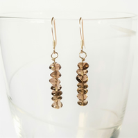 Smoky Quartz Semi Precious Drop Earrings - Rondelle