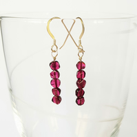 Garnet Semi Precious Drop Earrings - Coin