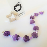 Amethyst Flower and Swarovski Crystal Bracelet