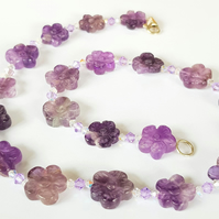 Amethyst Flower and Swarovski Crystal Necklace