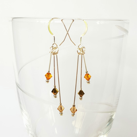 Swarovski Crystal Staggered Triple Drop Earrings - Golden Colours