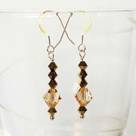 Swarovski Crystal Drop Earrings - Golden Colours Long