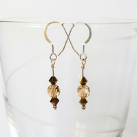 Swarovski Crystal Drop Earrings - Golden Colours Short