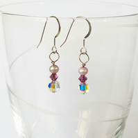 Swarovski Crystal and Freshwater Pearl Drop Earrings