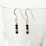 Swarovski Crystal and Silver Bead Drop Earrings