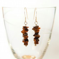 Tiger's Eye Semi Precious Drop Earrings - Smooth Chipped
