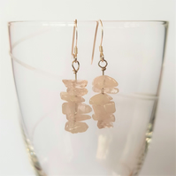 Rose Quartz Semi Precious Drop Earrings - Smooth Chipped