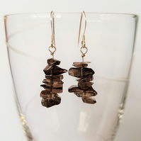 Smoky Quartz Semi Precious Drop Earrings - Smooth Chipped