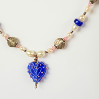 Beaded Heart Necklace - Blue & Pink Spot Glass Lampwork Bead
