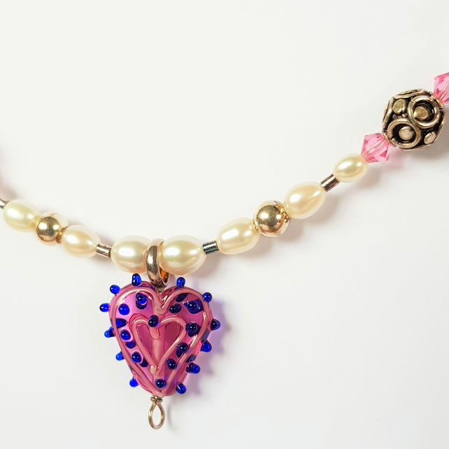 Beaded Heart Necklace - Pink & Blue Spot Glass Lampwork Bead