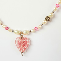 Beaded Heart Necklace - Pink & White Spot Glass Lampwork Bead