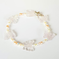 Light Amethyst Butterfly Bracelet with Crystals and Pearls
