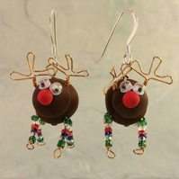 Reindeer Earrings - Multicoloured Legs