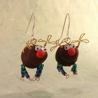 Reindeer Earrings - Green & Blue Legs