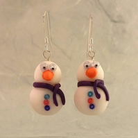 Snowman Earrings (Turquoise, Red and Blue Buttons)