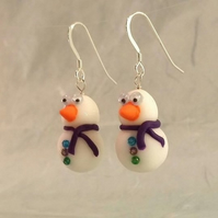 Snowman Earrings (Turquoise, Purple and Green Buttons)