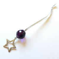 Antique silver coloured star and purple glass bead decoration