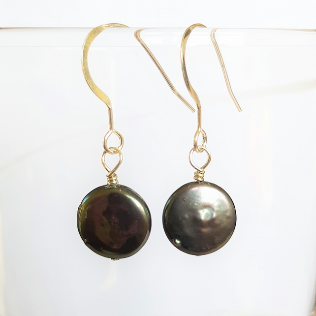 Peacock Freshwater Pearl Button Drop Earrings