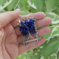Sodalite Tree of Life Pendant Necklace (Sterling Silver)