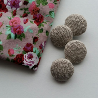 Stone coloured Fabric Covered Buttons