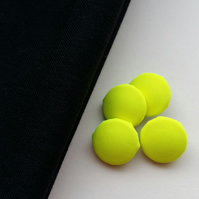 Fluorescent Yellow Covered Buttons X4