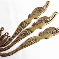 Set of 3 Antique Bronze Tone Mermaid Bookmark Blanks