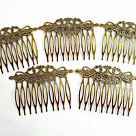 5 Bronze Tone Filigree Style Hair Comb Blanks