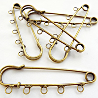5 x 70mm Bronze Tone 5 Loop Kilt Pin Brooch Blanks