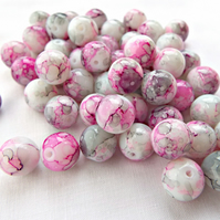 50 Mottled Pink and Grey Glass Beads - 10mm