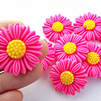 10 Dark Pink Resin Daisy Flower Cabochons - 28mm
