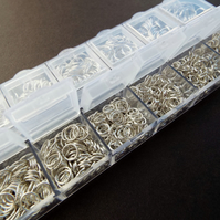850 Silver Tone Boxed Jump Rings 4-10mm
