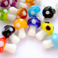 Strand of 20 Lampwork Glass Mushroom Beads in Mixed Colours