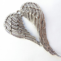 3 x Angel Wings Pendants - 70mm Tibetan Silver Style Pendants