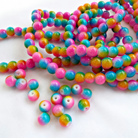 100 x 8mm Rainbow Beads - Round Glass Neon Colour Beads
